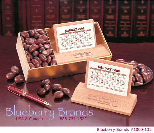 Hardwood Desk Calendar with Chocolate Covered Almonds