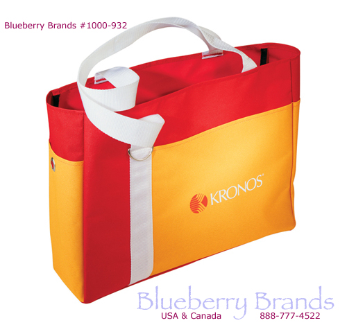 Picture of Color Block Beach Tote, Promotional Logo Color Block Beach Tote