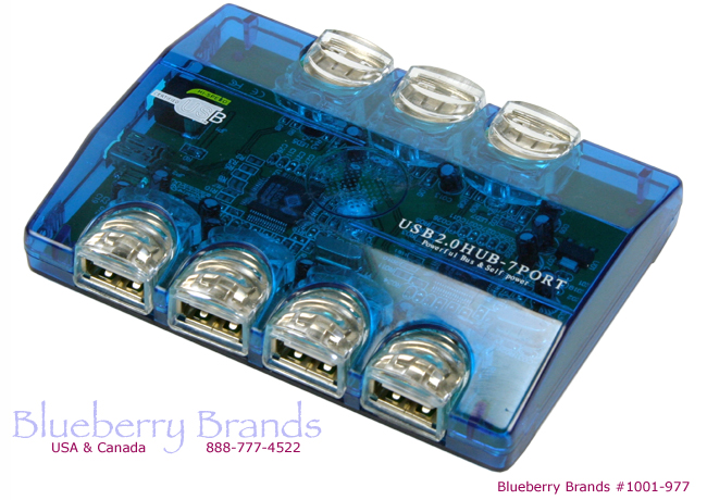 Picture of 7-Port Self Powered USB Hub with 8 Luminescent LED's