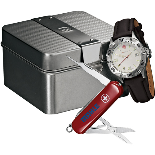 Picture of Wenger Swiss Military Brigade Watch Gift Set, Promo Logo Brigade Watch/Swiss Army Knife Set