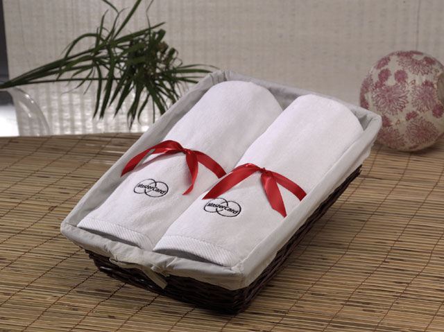 Picture of Beach Towels in a Basket, Promotional Logo Beach Towels in a Basket.