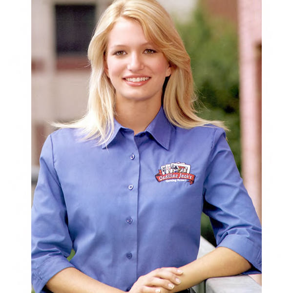 Picture of Women's 3/4 Sleeve Poplin Shirt, Promotional Logo 3/4 Sleeve Poplin Shirts