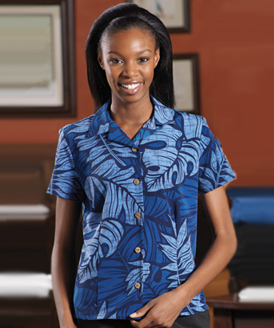 Picture of Women's Leaf Print South Sea Camp Shirt, Promotional Logo Camp Shirts