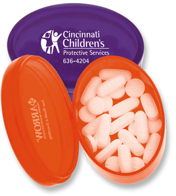 Oval Pill Box, Promotional Logo Oval Pill Box