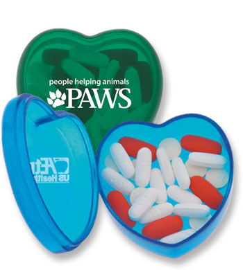 Picture of Heart Pill Box, Promotional Logo Heart Pill Box