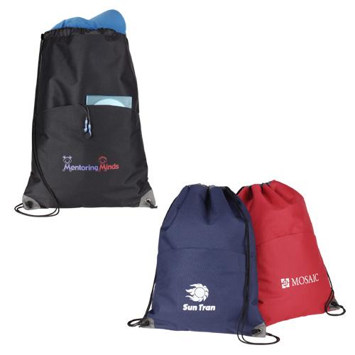 Picture of Profiles Drawstring Convention Tote, Promotional Logo Profiles Drawstring Convention Tote