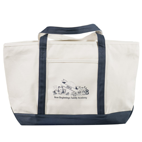 Picture of Classic Cotton Zippered Boat Tote, Promotional Logo Classic Cotton Zippered Boat Tote