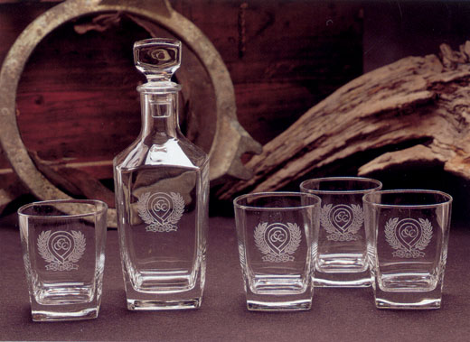 Picture of Monogram Decanter & 4 Glass Set