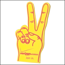 Picture of Large Victory Hand Cheering Mitt, Promotional Logo Large Victory Hand Cheering Mitt