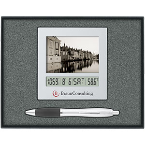 Picture of Frame Calendar Clock/Ballpoint Pen Gift Set