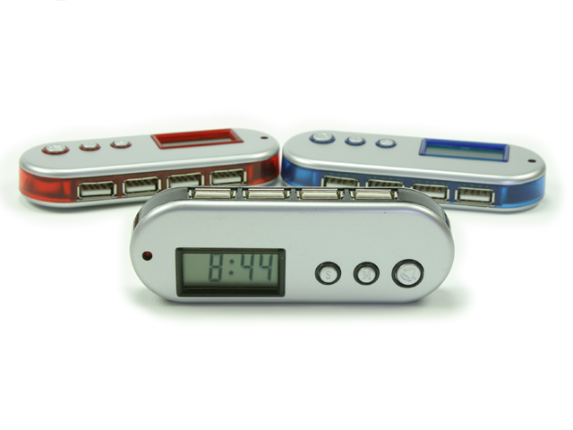 Picture of Mini 4-Port USB Hub with LCD Alarm Clock Function