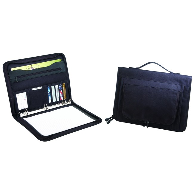 Picture of Zippered Binder Padfolio - 600 denier polyester zippered binder padfolio with heavy vinyl backing.