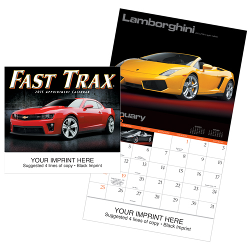 Picture of Fast Trax® Car Calendar, Promotional Logo Fast Trax® Automobile Calendars