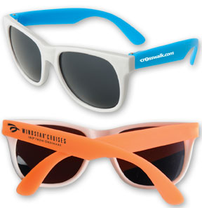 Picture of Neon Rubber Sunglasses with white temples, Promotional Logo Neon Rubber Sunglasses with white temples