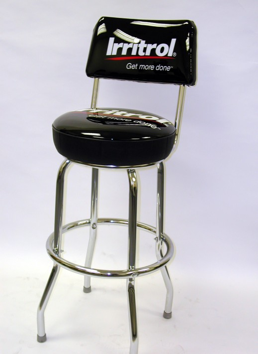 Upholstered Single Ring Stool with Back, Logo Upholstered Single Ring Stool with Back
