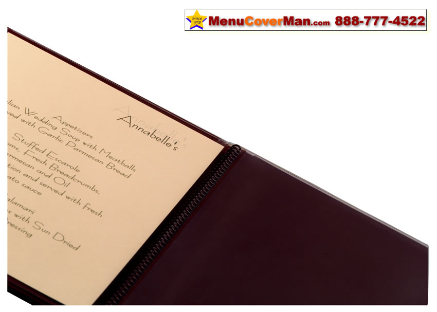 Picture of Menucoverman.com #AUG-SPIRAL-COVERS-8.5X11 - Spiral Bound Menu Covers