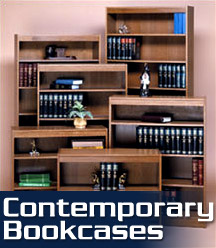 Our Contemporary Bookcases are the standard for excellence in budget priced COMMERCIAL QUALITY, GENUINE WOOD VENEER bookcases