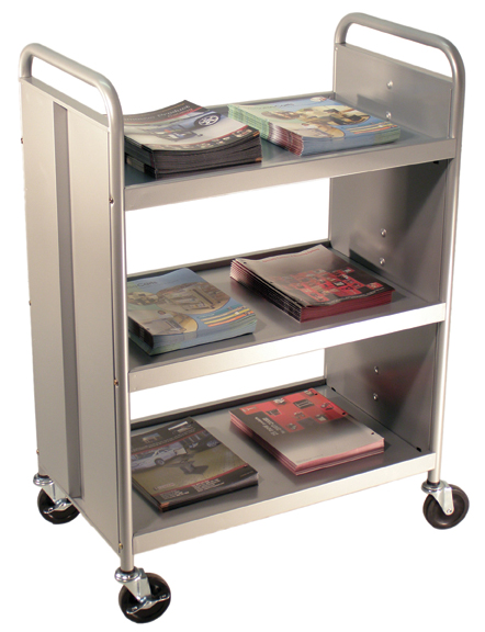 Picture of Book Truck 3 Flat Shelves 41 In H Silver Strip