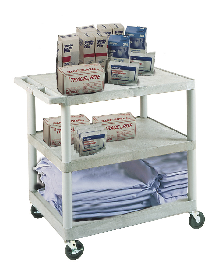"Picture of Luxor HE33-B 24""  X 32"" Hospital Cart 3 Flat Shelves 33.5"" H Black"