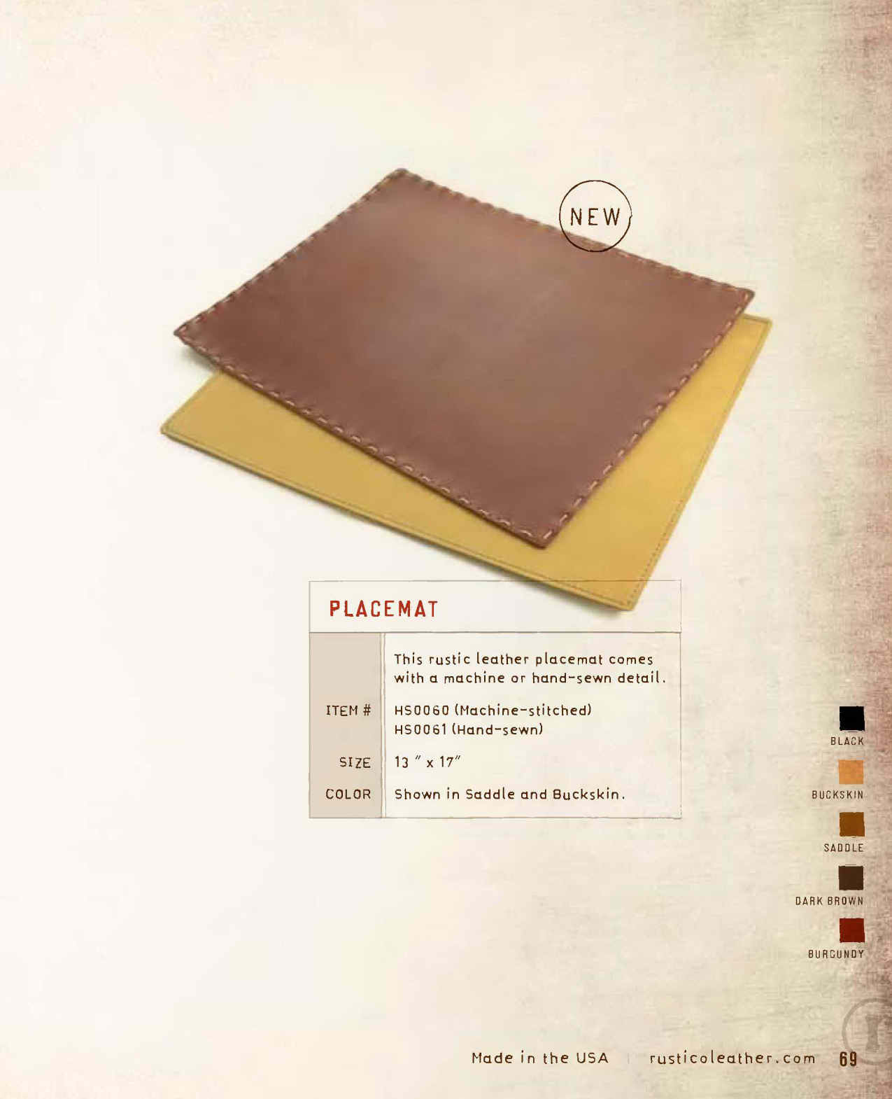 Picture of The Leather Placemat comes with machine or hand-sewn detail. This placemat is crafted with only the finest material of top grain cowhide leather which means your leather place mat is sure to last!