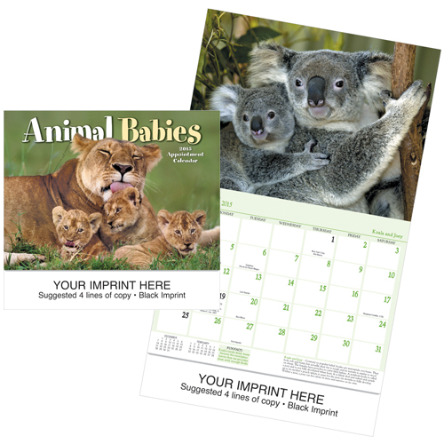Picture of Animal Babies Calendar, Promotional Logo Calendar
