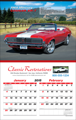 Picture of Muscle Car Six Sheet Calendar, Promotional Logo Muscle Car Six Sheet Calendar