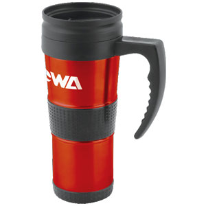 Picture of 16 oz Rubber Grip Metallic Mug with Plastic Lid, Promotional Logo Metallic Mugs
