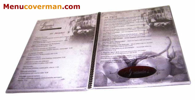 Picture of Menucoverman.com #SPIRAL-PG-8511 9-Page Clear Spiral-Bound Menu Cover