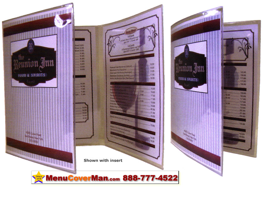 Picture of Menucoverman.com #ACV-200-5.5X8.5 - Clear Menu Covers - 2 Pocket - 4 View