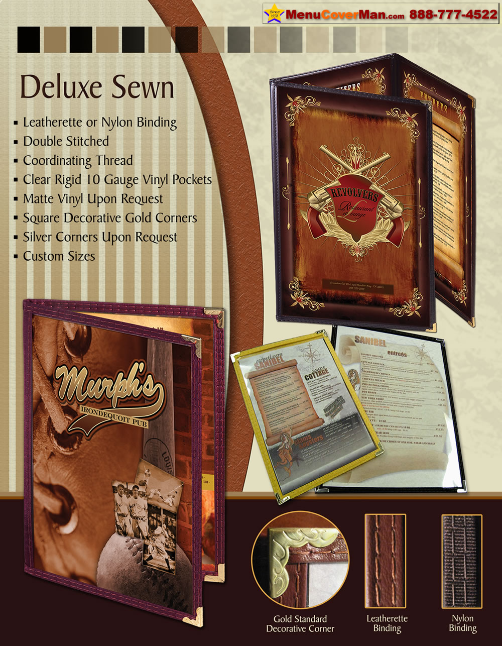 Picture of Menucoverman.com #DS-LEA-TEDQ-8.5X14 - Deluxe Sewn Menu Covers-3 Pocket-6 View-ThirdPkt,1/2-Size
